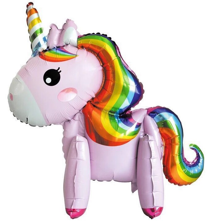 Mini Walker Rainbow Pink Unicorn (Air-filled) Balloon